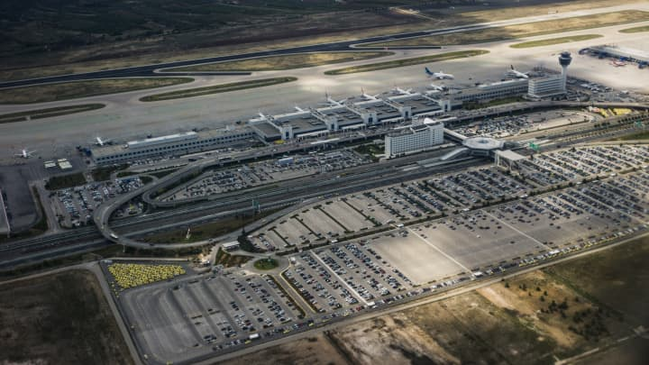 An aerial view of Athens International Airport, Greece.