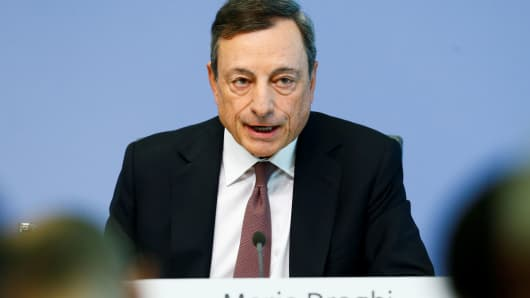 European Central Bank (ECB) President Mario Draghi addresses a news conference at the ECB headquarters in Frankfurt, Germany.