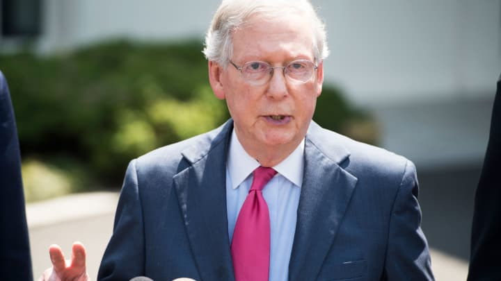 Senate Majority Leader Mitch McConnell, Republican of Kentucky, speaks to the media following a meeting with Republican Senators and US President Donald Trump to discuss the health care bill at the White House, July 19, 2017.