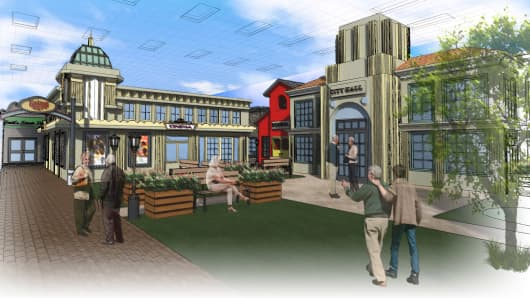 A rendering of Balboa City Hall at the Glenner Town Square, the dementia village set to open next spring in San Diego.