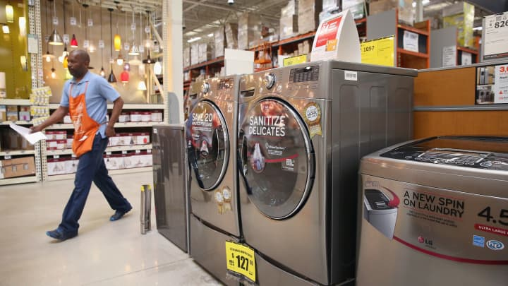 Household appliances are offered for sale at Home Depot in Chicago, Illinois.