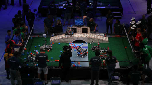 Participants at the First Global International Robot Olympics, an international robotic challenge, on July 17, 2017 in Washington, DC.