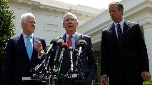 Senate Majority Leader Mitch McConnnell (C) and Senate Majority Whip John Cornyn (L) and South Dakota Senator John Thune (R) speak to reporters after U.S. President Donald Trump's meeting with Senate Republicans to discuss healthcare at the White House in Washington, U.S., July 19, 2017.