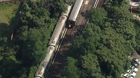 An aerial view of a Q train derailment in Brighton Beach, Brooklyn, New York on July 21st, 2017.
