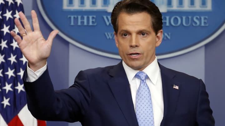 New White House communications director Anthony Scaramucci speaks to members of the media in the Brady Press Briefing room of the White House in Washington, Friday, July 21, 2017.