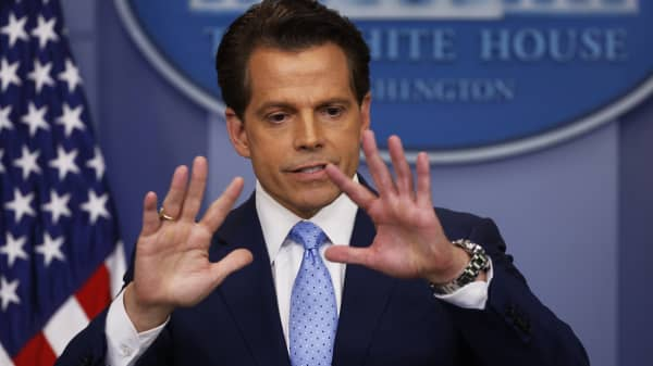 New White House communications director Anthony Scaramucci addresses the daily briefing at the White House in Washington, July 21, 2017.