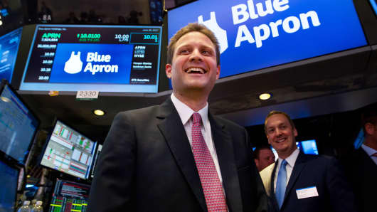 Matt Salzberg, co-founder and chief executive officer of Blue Apron Holdings Inc., smiles during the company's initial public offering on the floor of the New York Stock Exchange, June 29, 2017.