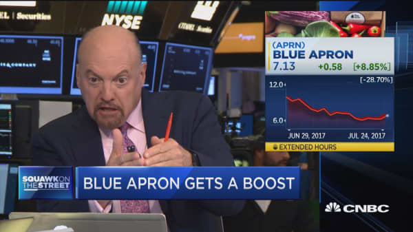 Cramer: Bullish Blue Apron analysts don't seem to notice Amazon' rise