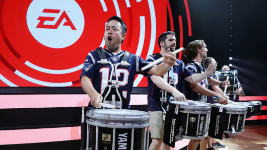 A drumline performs before the Electronic Arts EA Play event in Los Angeles, California.