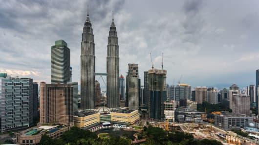 A general view of the Petronas Twin Towers in Kuala Lumpur, Malaysia.