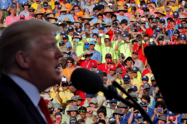 President Donald Trump delivers remarks at the 2017 National Scout Jamboree in West Virginia.