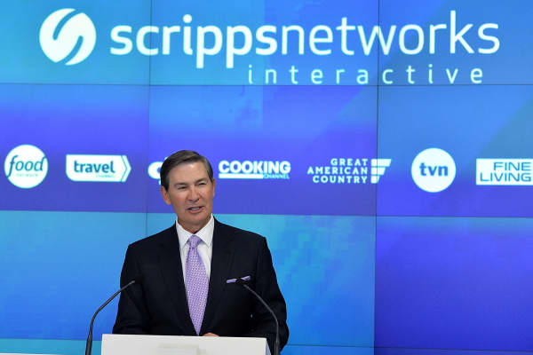 Kenneth W. Lowe, Chairman of the Board, President and CEO of Scripps Networks Interactive rings the NASDAQ Opening Bell at NASDAQ on June 2, 2016 in New York City.