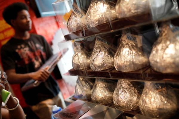 Giant Hershey's Kiss chocolates are seen on display in a shop in New York City.