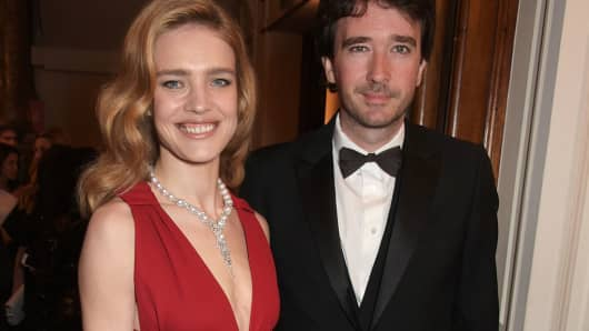 Natalia Vodianova and partner Antoine Arnault at The Backstage Gala in aid of The Naked Heart Foundation at The London Coliseum on April 17, 2015