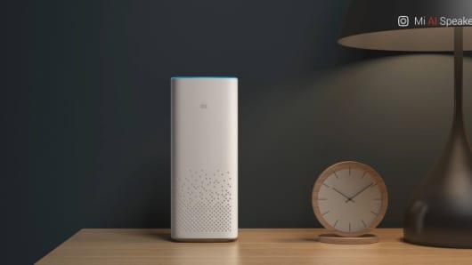 Xiaomi's Mi AI Speaker on display.