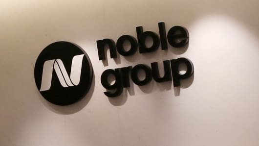 The company logo of Noble Group at its headquarters in Hong Kong