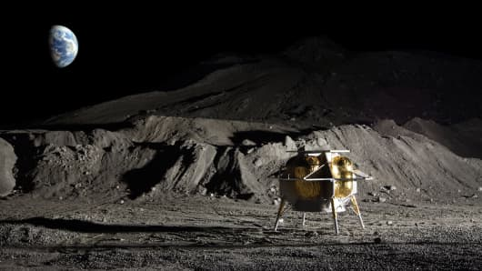 Artist's impression of Astrobotic's Peregrine lunar lander on the surface of the moon.