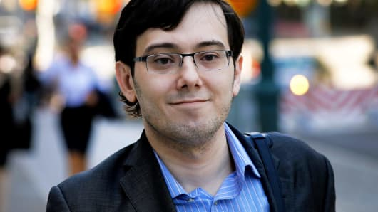 Martin Shkreli, former chief executive officer of Turing Pharmaceuticals AG, arrives at federal court in Brooklyn, New York.