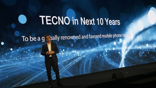 Arif Chowdhury, Tecno and Transsion Holdings vice president, gives a presentation on the future of the brand.