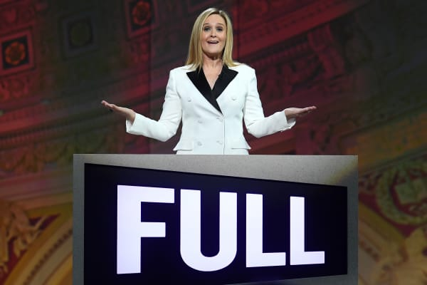 Samantha Bee speaks onstage during Full Frontal With Samantha Bee's Not The White House Correspondents' Dinner.