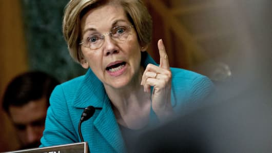 Senator Elizabeth Warren, during a Senate Banking Committee nomination hearing in Washington, D.C.