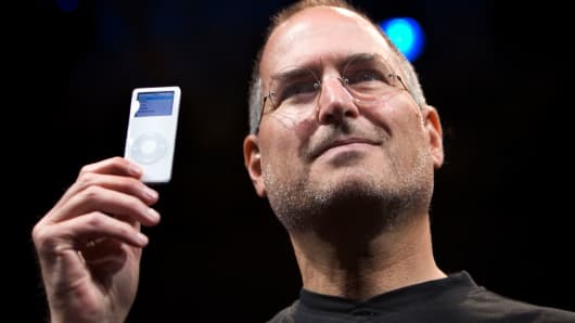 Apple CEO Steve Jobs introduces the new iPod Nano in 2005.