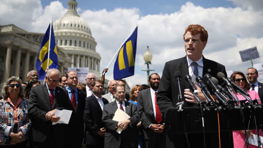 Rep. Joe Kennedy (D-MA) speaks during a press conference condemning the new ban on transgendered servicemembers on July 26, 2017 in Washington, DC.