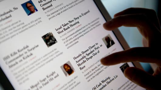 The New York Times on an iPad application