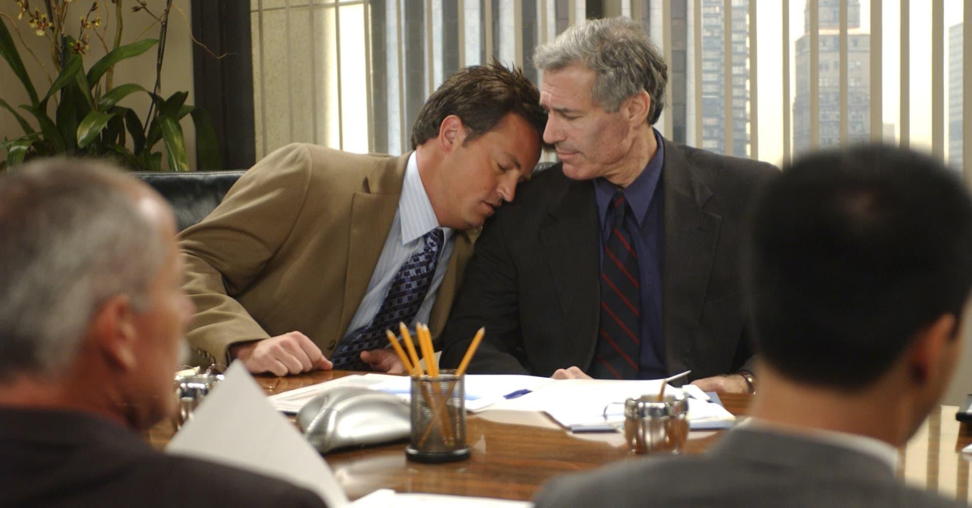 In an episode of Friends, Chandler Bing falls asleep on his coworker
