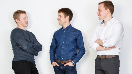 Thalmic Labs founders left to right Matthew Bailey, Aaron Grant and Stephen Lake.