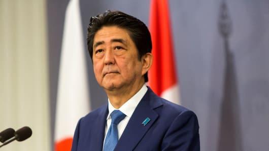 Japanese PM Shinzo Abe during his meeting with Danish PM Lars Loekke Rasmussen on July 10, 2017 in Copenhagen, Denmark.