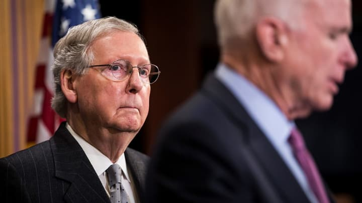 Senator Mitch McConnell during a press conference on February 11, 2016.