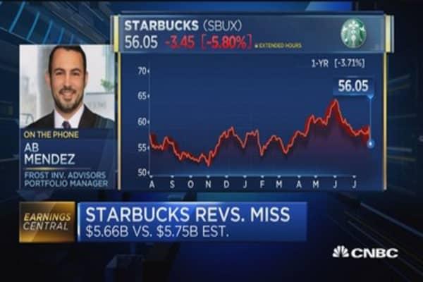 Starbucks reports mixed quarter