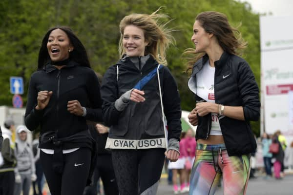 Naomi Campbell, Natalia Vodianova and Izabel Goulart take part in the Running Hearts charity race in Moscow in May 2017, in aid of the Naked Heart Foundation