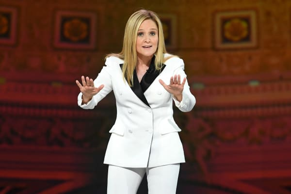 Samantha Bee speaks onstage during the Full Frontal With Samantha Bee's Not The White House Correspondents' Dinner.