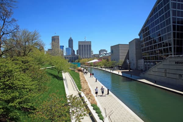 The Canal Walk in downtown Indianapolis