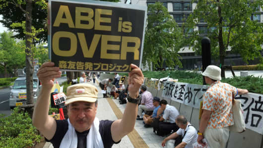 A rally against Japanese Prime Minister Shinzo Abe in front of parliament in Tokyo on July 25, 2017.