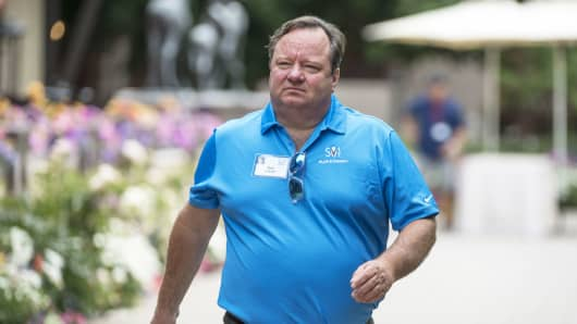 Bob Bakish, president and chief executive officer of Viacom Inc., walks the grounds during the Allen & Co. Media and Technology conference in Sun Valley, Idaho, July 14, 2017.