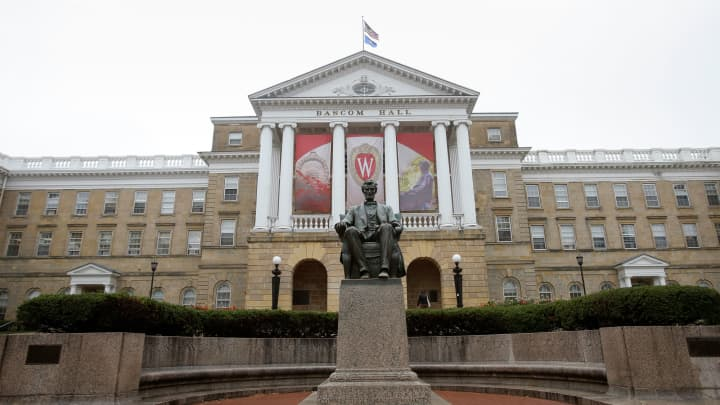 An outside view of Bascom Hall on the campus of the University of Wisconsin in Madison.