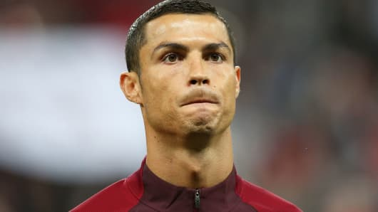 Portugal's Cristiano Ronaldo in their 2017 FIFA Confederations Cup semifinal football match against Chile at Kazan Arena Stadium.