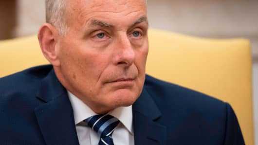 Newly sworn-in White House Chief of Staff John Kelly looks on in the Oval Office of the White House in Washington, DC, on July 31, 2017.