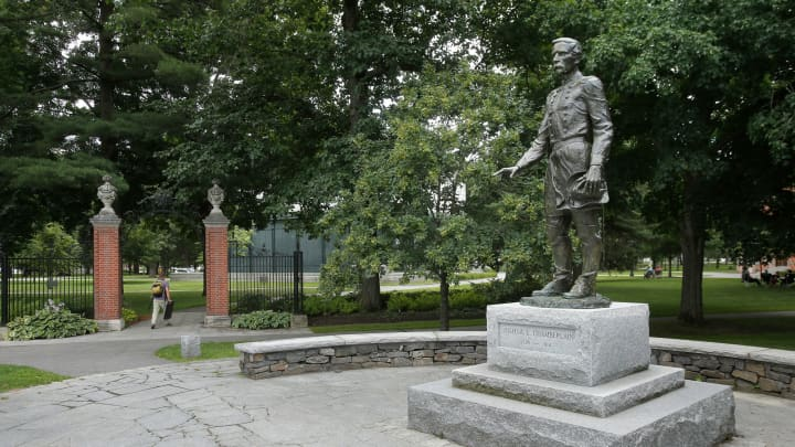 Joshua Chamberlain statue at the entrance to the Bowdoin campus in Brunswick, Maine.