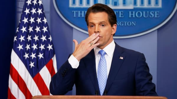 Anthony Scaramucci blows a kiss to reporters at the White House on July 21, 2017.