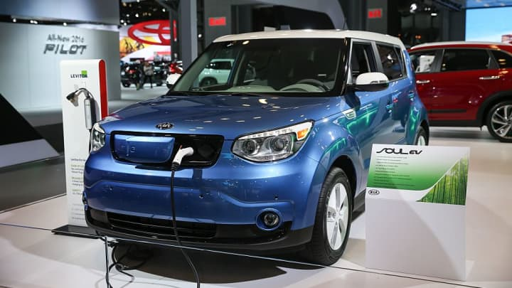 A Kia Soul EV model car is on display during the 116th New York International Auto Show at the Javits Convention Center in Manhattan.