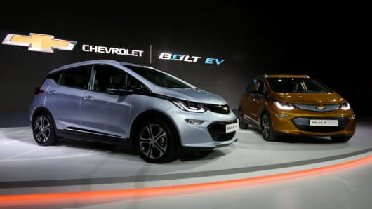 Chevrolet Bolt electric vehicles (EV) stand on display during the press day of the