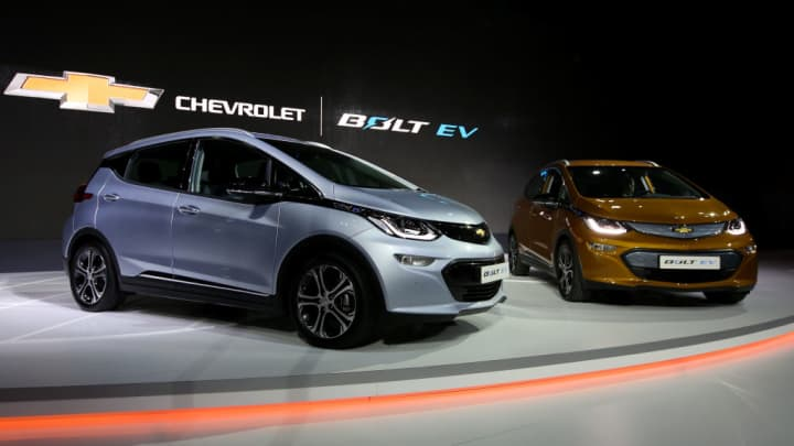 Chevrolet Bolt electric vehicles (EV) stand on display during the press day of the Seoul Motor Show in Goyang, South Korea
