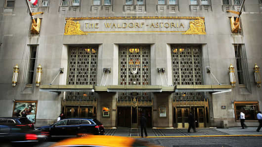 The Waldorf Astoria on October 6, 2014 in New York City. Anbang Insurance Group bought the Waldorf from Hilton Hotel group for $1.95 billion in 2014.