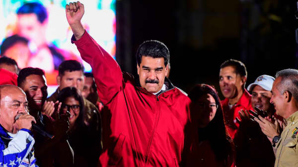 Venezuelan president Nicolas Maduro celebrates the results of a referendum on a constitutional assembly in Caracas, Venezuela, on July 31, 2017.