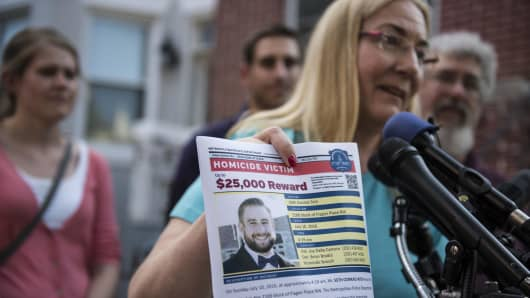 Mary Rich, mother of slain DNC staffer Seth Rich, gives a news conference on Aug. 1, 2016.