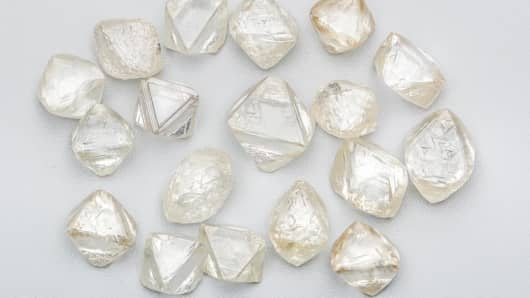 An assortment of Alrosa diamonds